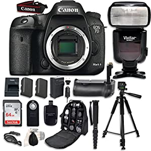 Canon EOS 7D Mark II Digital SLR Camera Bundle (Body Only) with Professional Accessory Bundle (15 items)