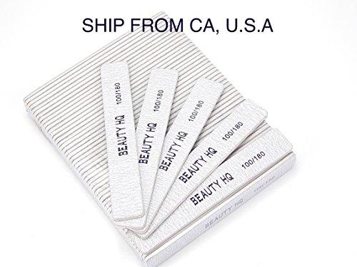 Professional Nail Files Grit 100/180, Coarse & Fine Zebra Ju