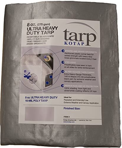 Kotap TUH-1225 Ultra Heavy-Duty 16-mil Reversible Poly Tarp with 100% UV Protection, 12 x 25-Foot, Silver/White