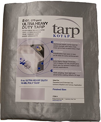 20' Double Duty Tarp - Kotap TUH-2030 Finished Size Ultra Heavy-Duty 8 oz/16-mil Poly Tarp, 20' x 30', Reversible Silver/White