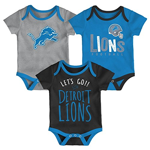 (NFL by Outerstuff NFL Detroit Lions Newborn & Infant Little Tailgater Short Sleeve Bodysuit Set Lion Blue, 6-9 Months)