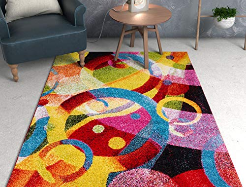 Home Improvement Ideas. Bubble Bright Multi Circles Yellow Blue Red Abstract Geometric Lines Area Rug 8x10 (7'10 #homeimprovement