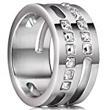 King Will TIME 11mm White Mens Stainless Steel Wedding Band Ring Hollow with 12 zircons 12.5