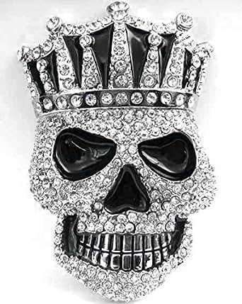 Mega Gran Rey cráneo con hebilla de calavera de diamantes de imitación, Bling