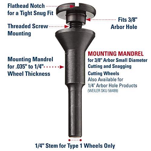 Weiler 07761 Mandrel for 2-3 Unitized Wheels 1//4 Stem
