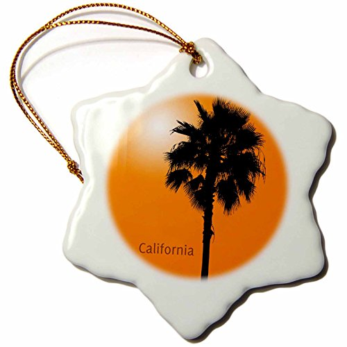 Palm Tree Porcelain (3dRose LLC California Palm Sunny Silhouette of A Palm Tree Originally Photographed in California 3-Inch Snowflake Porcelain Ornament)