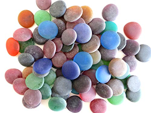 Sea Stones, Frosted Replica Sea Glass, Winter Colors, 50 oz. Jar. Dramatic, Vibrant Large Nuggets. Make Wire Wrapped Jewelry, Mosaics, Decorate Frames and Mirrors. from Lifeforce Glass.