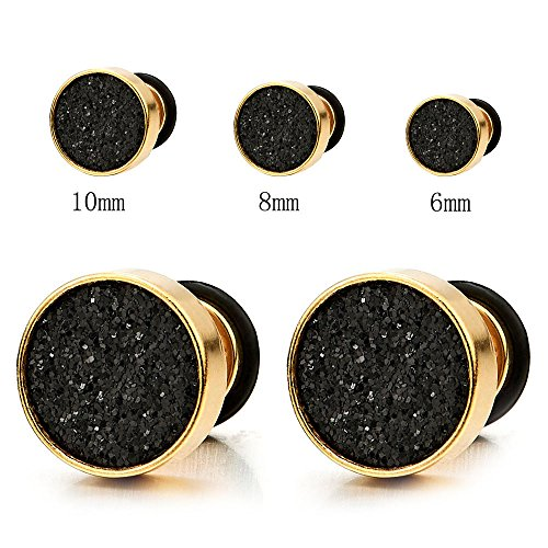 10mm Mens Women Gold Stud Earrings Steel Illusion Tunnel Plug Screw Back with Black Sand Glitter