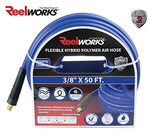 REELWORKS Hybrid Polymer Air Hose Heavy Duty, Light Weight, Flexible, Kink Resistant (3/8