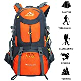 Hiking Backpack 50L(45L+5L) Waterproof Breathable Lightweight Large Capacity Backpack for Outdoor Climbing Mountaineering Travel Cycling Fishing(Rain Cover Included)