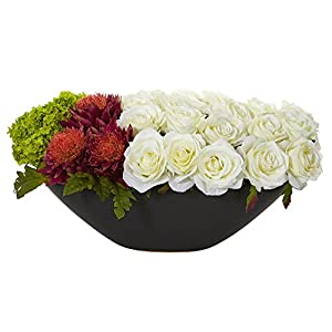 Nearly Natural 1561-WO Rose, Tropical Flower and Hydrangea Arrangement in Black Vase Artificial Plant Multi-Colored 97