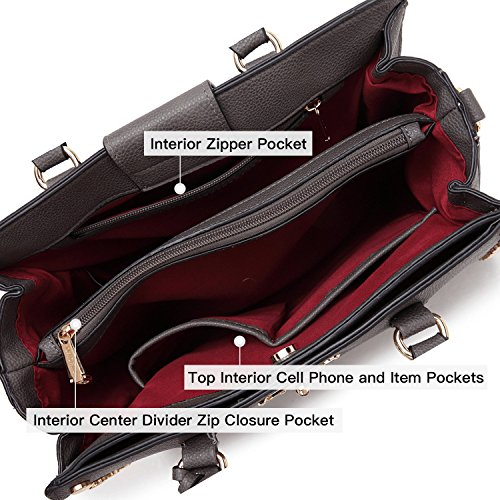 Purse Satchel Wristlet Shoulder Wallet grey 7579 Handbag Set Fashion Bag Women Leather fAx4ITt