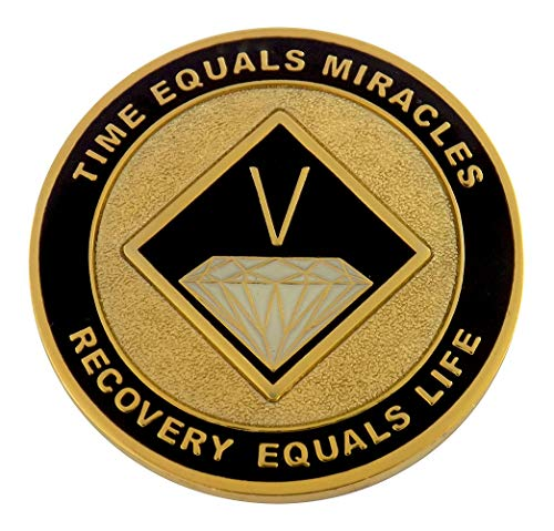 (5 Year Painted NA Anniversary Medallion - Black on Gold-Plate | Recovery Shop)