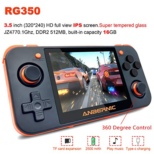 MJKJ Handheld Game Console , RG350 Retro Game Console OpenDingux Tony System , Free with 32G TF Card Built-in 2500 Classic Game Console 3 Inch IPS Screen Portable Video Game Console - Black