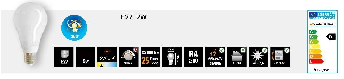 Azzardo LED Light Bulb (E27 220-240V/50Hz, 9W, 740 LM, 2700K