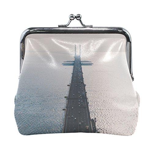 Rh Studio Coin Purse Women Road Bridge Top View Print Wallet Exquisite Clasp Coin Purse Girls Clutch Handbag