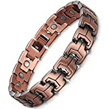 Feraco Vintage Copper Magnetic Bracelet for Men Arthritis and Carpal Tunnel Pain Relief with Strong Magnets