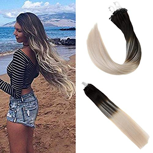 Loop Hair Extensions Darkest Brown Color 2 Fading to #60 Platinum Blonde Real Human Hair Extensions Micro Ring Hair Extension 50Gram Per Package 1g/Strand (Brown Platinum Ring)