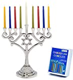 Menorah Traditional Design With Star of David Aluminum With 44 Colored candles For Chanukah