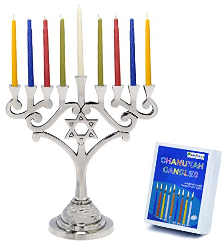 Menorah Traditional Design With Star of David Aluminum With 44 Colored candles For Chanukah by The Dreidel Company