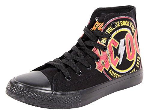 Chaussures original AC / DC - high voltage - Noire - F.B.I.. Basquettes basket noir AC DC sous licence ACDC unisex idée cadeau noel anniversaire fille garçon homme femme fashion moderne look sportif,