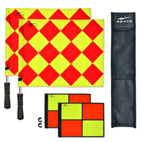 (AGORA Pro Line Duo Premium Rotating Soccer Referee Flags with Case, Red/Yellow)