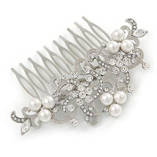Avalaya Bridal/Wedding/Prom/Party Rhodium Plated Clear Austrian Crystal Faux Pearl Floral Side Hair Comb - 90mm ()
