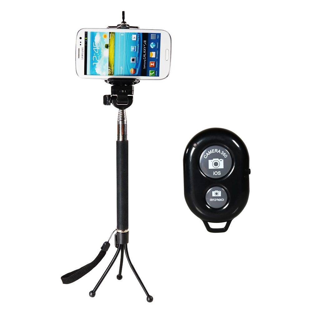 CamDesign 4 in 1 Bundle Extendable Handheld Monopod + Adapter + Bluetooth Remote Shutter + Mini Tripod for IOS Android Smartphone Iphone 6 plus 6 5 5s 5c 4s 4, Sony Xperia, HTC New One and X, Samsung Galaxy S3 S4 S5 Note 1 2 3 4 Galaxay Tab 2 Note8 10.1,