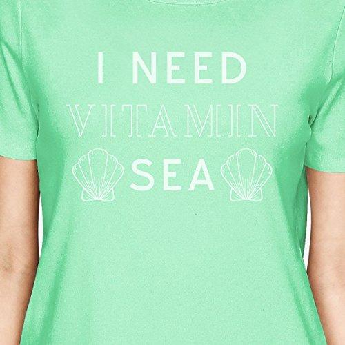 Vitamin Courtes Shirt T shirt Manches 365 Need I Sea Femme Printing Mint 8wAFI