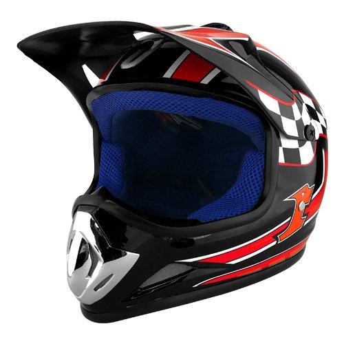 DOT Approved Dirt Bike Motocross MX Dirt Bike ATV Off-Road Kids Red & Black Motorcycle Helmet - Youth Large -  RS HELMETS, RS-8696-BlackRed-YL