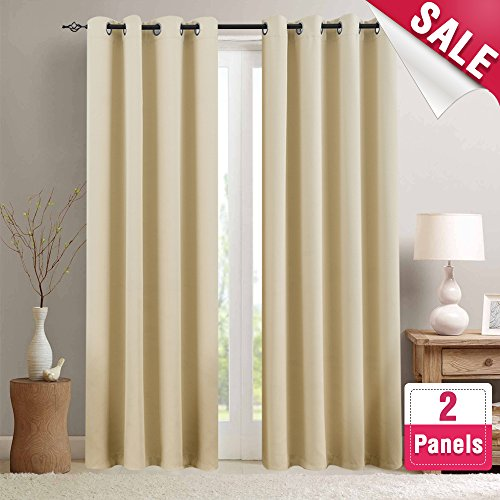 Treatments Panel Window (Room Darkening Window Curtains for Bedroom Triple Weave Moderate Blackout Curtains for Living Room 95 inches Long Light Reducing Window Treatment Set, Beige, 2 Panels)