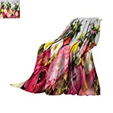 Anhuthree Rustic Throw Blanket A Bunch of Flowers Ranunculus on Wood Backdrop Rose Fragrance Floral Spring Pattern Digital Printing Blanket 90''x70'' Multicolor