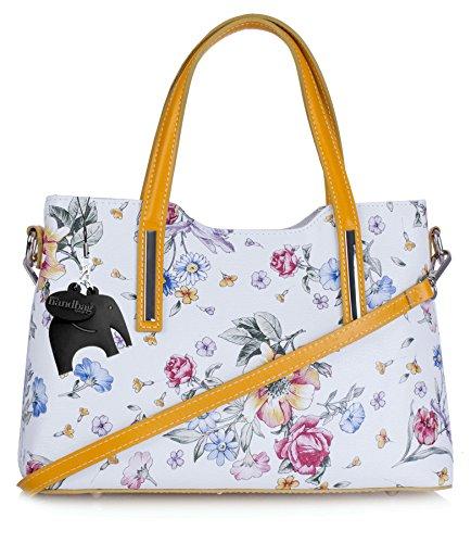 Big Handbag Shop - Bolsos mujer White Floral - Yellow Trim