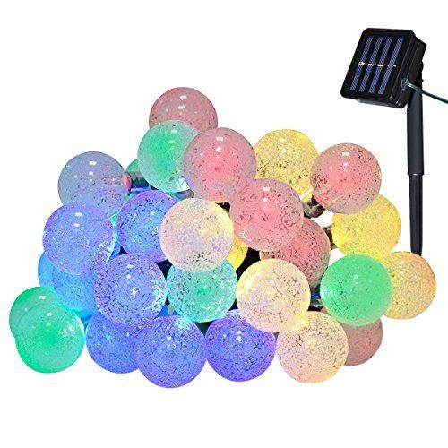 Yasolote 6M Cadena de Luces Solares 8 Modos de Luces Impermeables 30 LED Guirnalda de Energía Solar para Árbol de Navidad,...