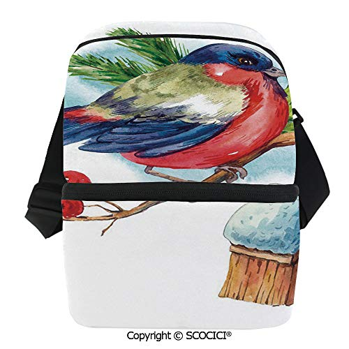 SCOCICI Reusable Insulated Grocery Bags Merry Christmas Composition with Cute Bullfinch Holly Pine Cone Bird House in Winter Decorat Thermal Cooler Waterproof Zipper Closure Keeps Food Hot Or Cold