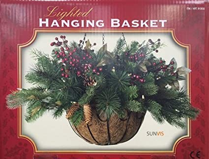 Christmas Hanging Baskets With Lights.Lighted Hanging Basket Artificial Pre Lit 30 Led Lights Christmas Deco