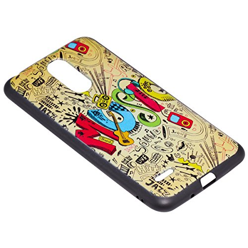 Funda LG K8 2017 versión europea,SainCat Moda Alta Calidad suave TPU Silicona Suave Funda Carcasa Caso Parachoques relieve Diseño pintado Patrón para Carcasas LG K8 2017 versión europea Fondo negro 3D Música dinámica