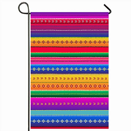"""Ahawoso Outdoor Garden Flags 12""""x18"""" Inch Typical Green Mexico Ethnic Mexican Pattern Border Red Guatemalan Mayan South Poncho America Folklore Vertical Double Sided Home Decorative House Yard Sign"""