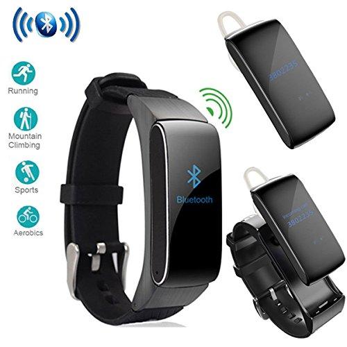 (luckyruby 2 in 1 DF22 Bluetooth Headset Smart Bracelet Handsfree Smart Watch Fitness Headset Earphone for Android (Black))