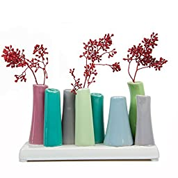 Chive - Pooley 2, Ceramic Flower Vase, 8-Tube Shape, Green with Purple Grey and Blue Assortment