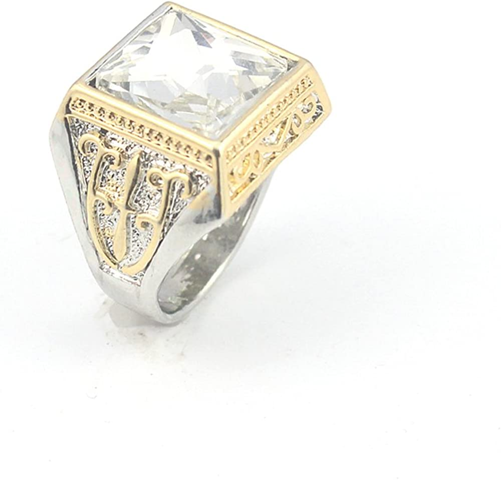 CRYSTAL STONE FASHION JEWELRY SILVER PLATED AND BRASS RING 8 S23113