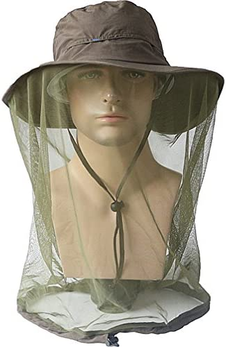 Zeltauto Outdoor Bee Mosquito Fly Head Veil Net Beekeeping Face Protection Hat Poliestere M Unisex Nero Adulto