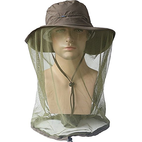 Luwint Mosquito Head Net Hat, Breathable Sun Hat Beekeeper Hat Cap with Veil Protection from Insect Bug Bee Mosquito for Outdoor Fishing Gardening Hiking Travel (Army Green/Large (22.8''-23.6'')) ()