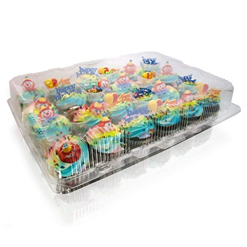 12-Compartment Cupcake Container with Hinged Lid, Clear (100, 12- Compartment) by The Bakers Pantry (Image #2)