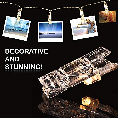 MZD8391 Dimmable 50 Photo Clips String Lights/Holder with Remote Control, Battery Powered Indoor Fairy String Lights for…