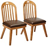 Bishop Curved Back Slat Dining Chairs Brown and Drifted Pine (Set of 2) For Sale