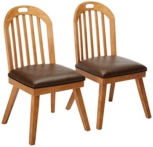 Bishop Chairs Curved Back Slat Dining Brown And Drifted Pine (Set Of ...