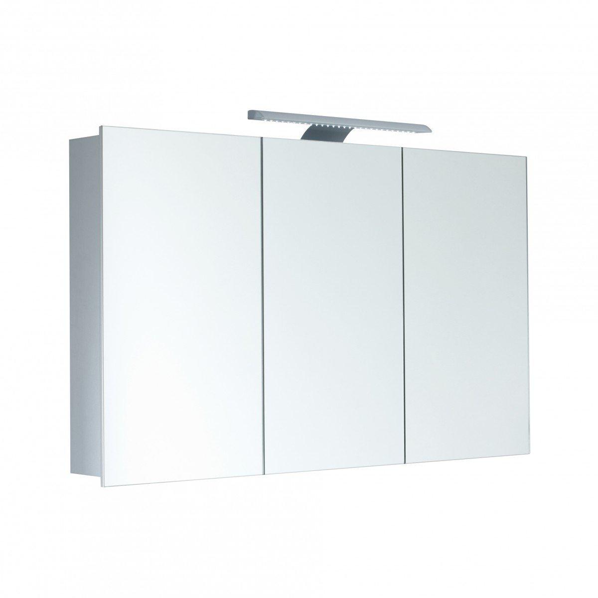 Amazon.de: Spiegelschrank Galdem HIGH100 / 3D Badezimmerschrank 100cm / 3  Türig / Mit LED