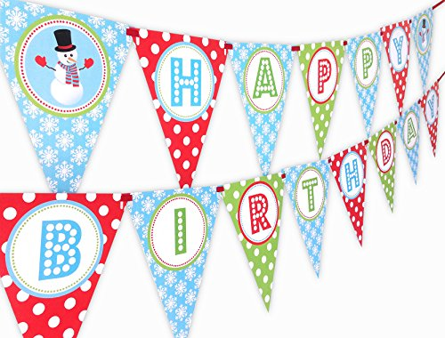 Snowman Happy Birthday Banner Pennant