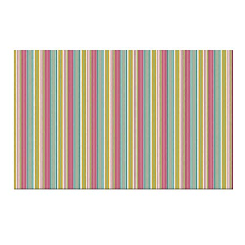 YOLIYANA Teal and White Durable Door Mat,Colorful Bold Lines in Vertical Order Cheerful Summer Design Decorative for Home Office,17.7